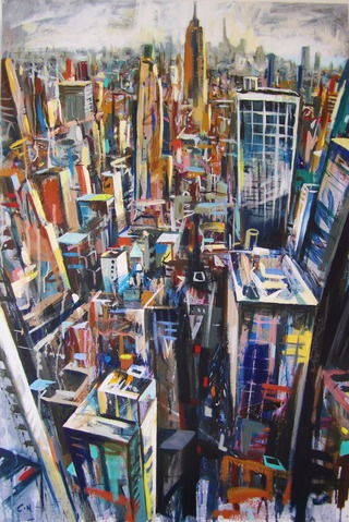 Downtown Manhattan from Rockerfellar Centre,90 x 60cm. SOLD