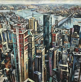 East river Manhattan from Onetower, acrylic on canvas 90 x 90cm SOLD