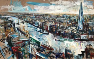 London from the Skygarden, oil on wood 122 x 77cm
