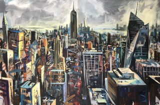 Chrysler, Empire and Bryant park from Rockefeller, 90 x 60cm acrylic on canvas