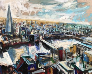 The Shard from skygarden, London, oil on wood 51 x 60cm