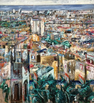 Leith from Calton hill mixed media on wood 90 x 90cm SOLD