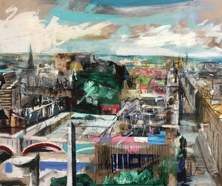 Princes St from Calton hill- Mixed media on wood 40 x 52cm SOLD