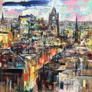 Princes St from Calton Hill- Oil on wood 90 x 90cm SOLD