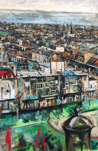 Princes St from Castle- Mixed media on canvas 51 x 76cm