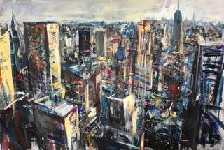 Chrysler and Empire from Rockefeller, acrylic on canvas 90 x 60cm