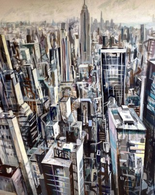 Downtown Manhattan from Rockefeller 110 x 80cm acrylic on canvas SOLD